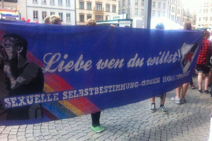 CSD in Leipzig mit dem Roten Stern Leipzig